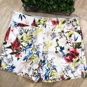 White House Black Market Tropical Flower Shorts